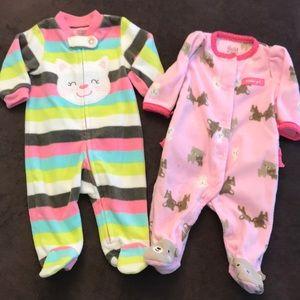 Set of 2 Baby Girl Newborn Fleece Sleepers, EUC